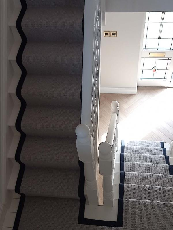 Belvedere Ash Runner with navy trim on stairs