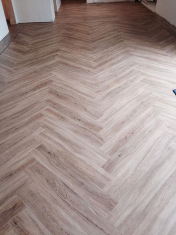 LVT Herringbone in Kitchen